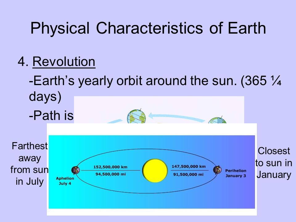Physical Characteristics of Earth 4. Revolution -Earth's yearly orbit around the sun.