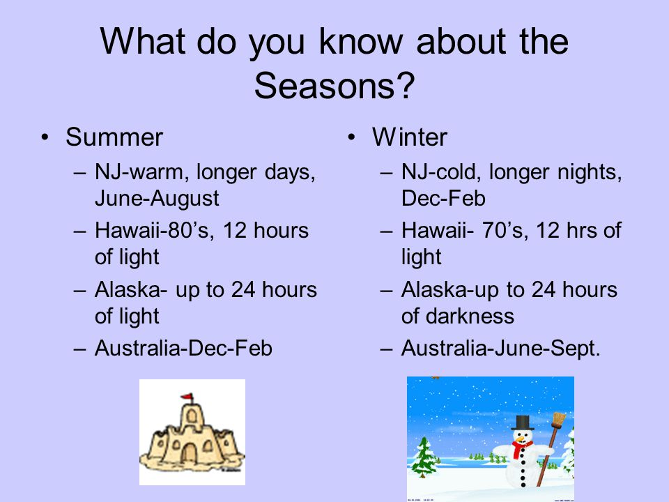 What do you know about the Seasons.