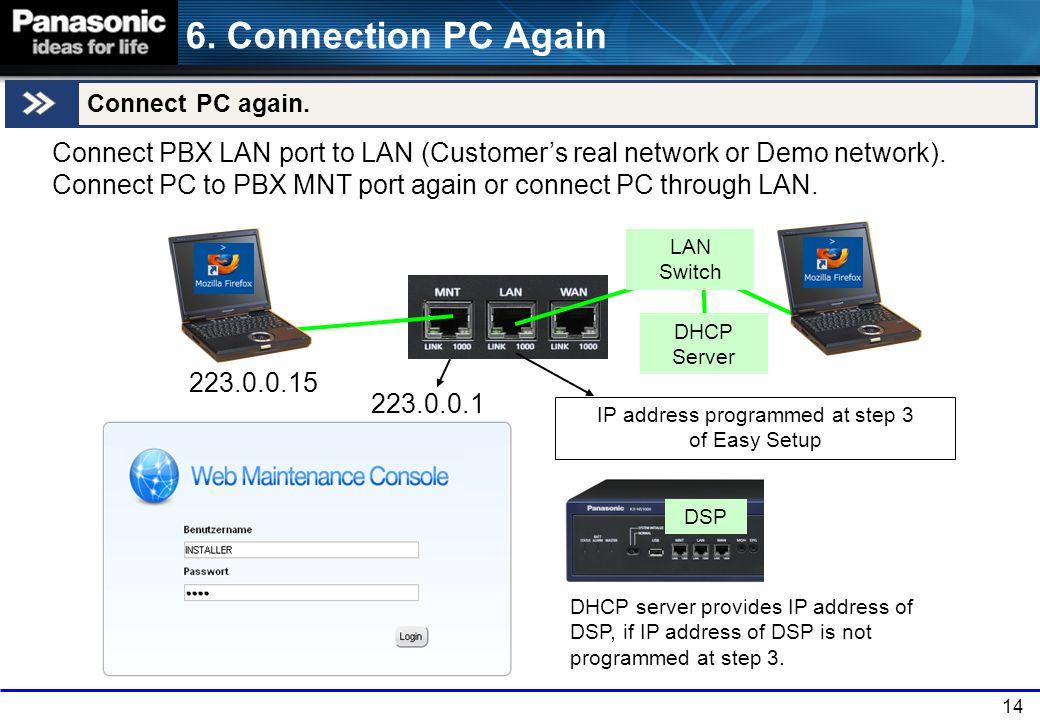 14 6.Connection PC Again Connect PC again.