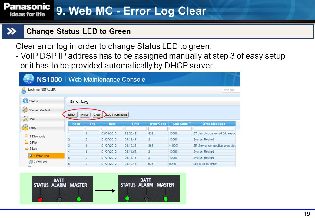 19 Change Status LED to Green 9. Web MC - Error Log Clear Clear error log in order to change Status LED to green. - VoIP DSP IP address has to be assi