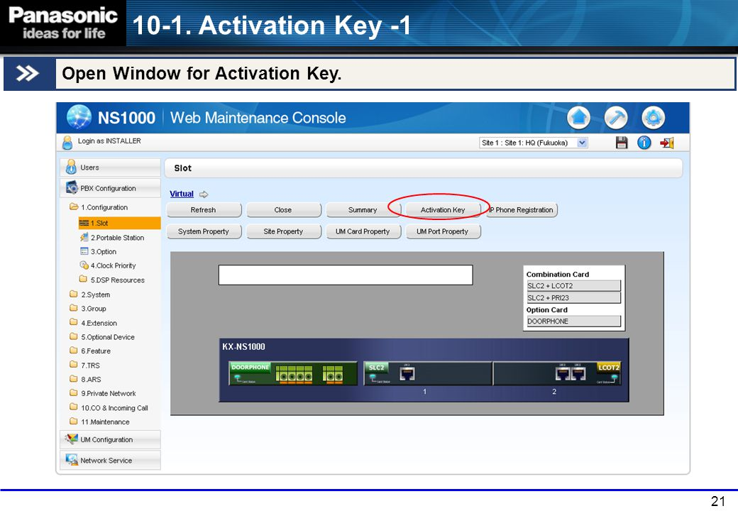 21 10-1. Activation Key -1 Open Window for Activation Key.