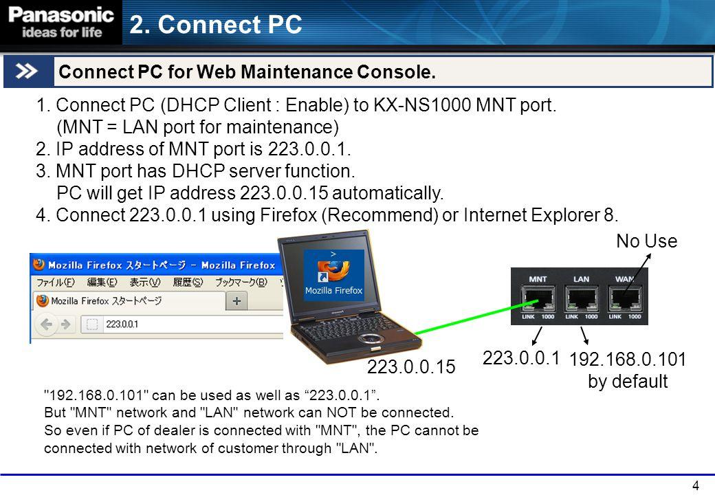 4 2.Connect PC Connect PC for Web Maintenance Console.