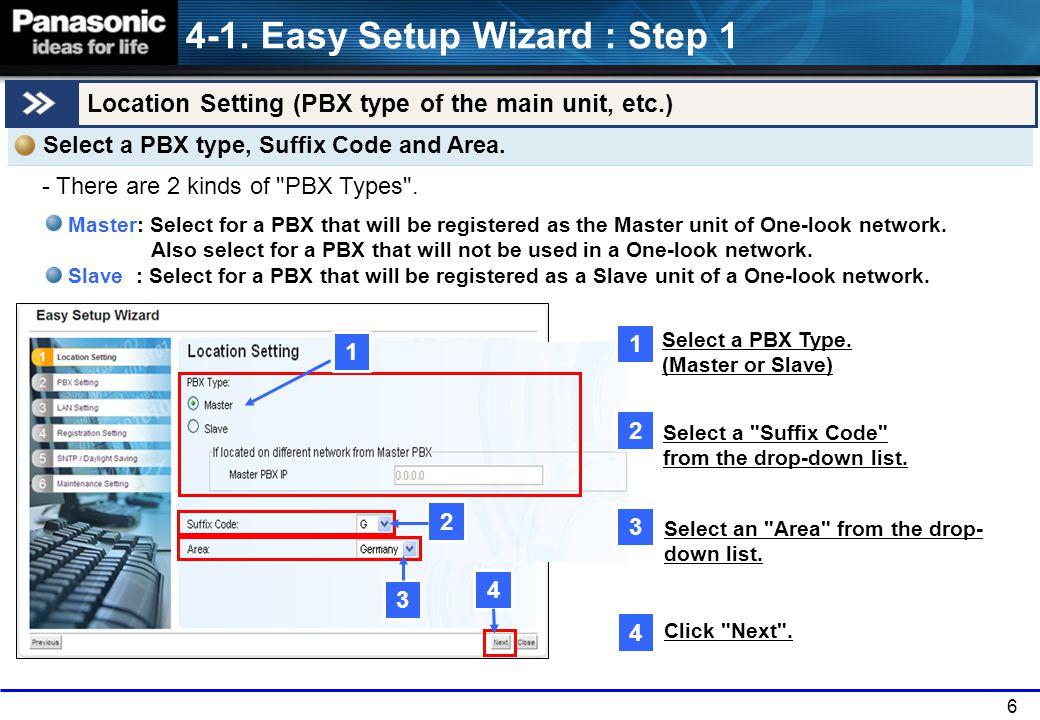 6 Location Setting (PBX type of the main unit, etc.) 4-1.