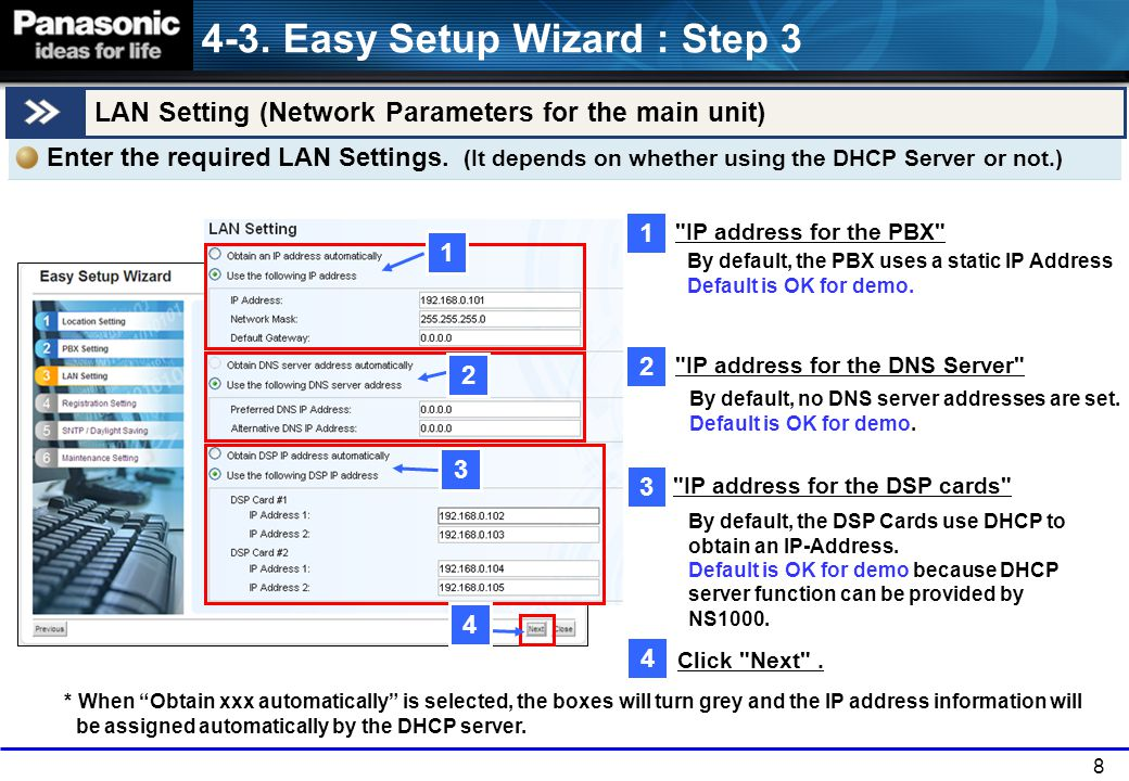 8 By default, the DSP Cards use DHCP to obtain an IP-Address.