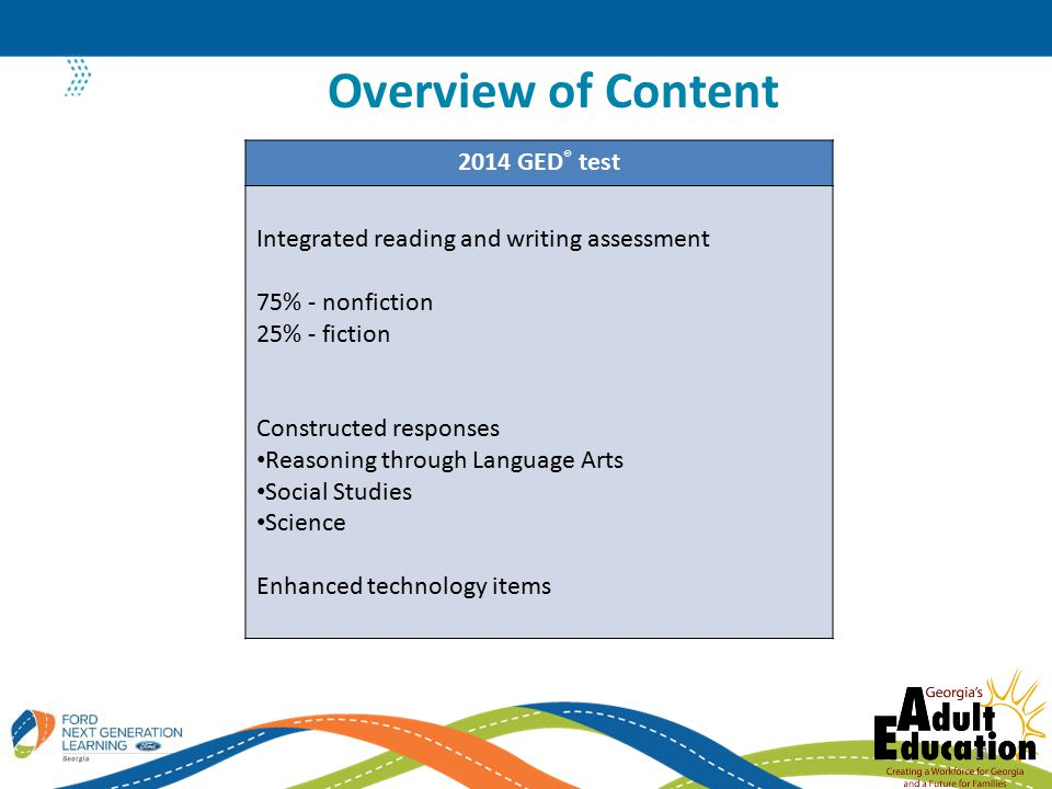Overview of Content 11 2014 GED ® test Integrated reading and writing assessment 75% - nonfiction 25% - fiction Constructed responses Reasoning through Language Arts Social Studies Science Enhanced technology items