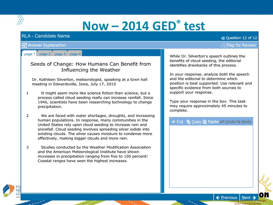 Now – 2014 GED ® test 16