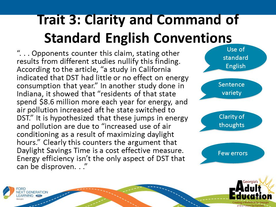 Trait 3: Clarity and Command of Standard English Conventions ...