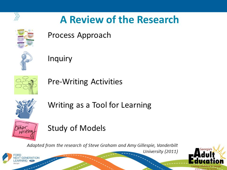 Process Approach Inquiry Pre-Writing Activities Writing as a Tool for Learning Study of Models A Review of the Research Adapted from the research of Steve Graham and Amy Gillespie, Vanderbilt University (2011) 37