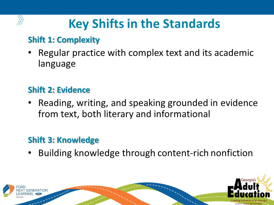 Shift 1: Complexity Regular practice with complex text and its academic language Shift 2: Evidence Reading, writing, and speaking grounded in evidence from text, both literary and informational Shift 3: Knowledge Building knowledge through content-rich nonfiction Key Shifts in the Standards 5
