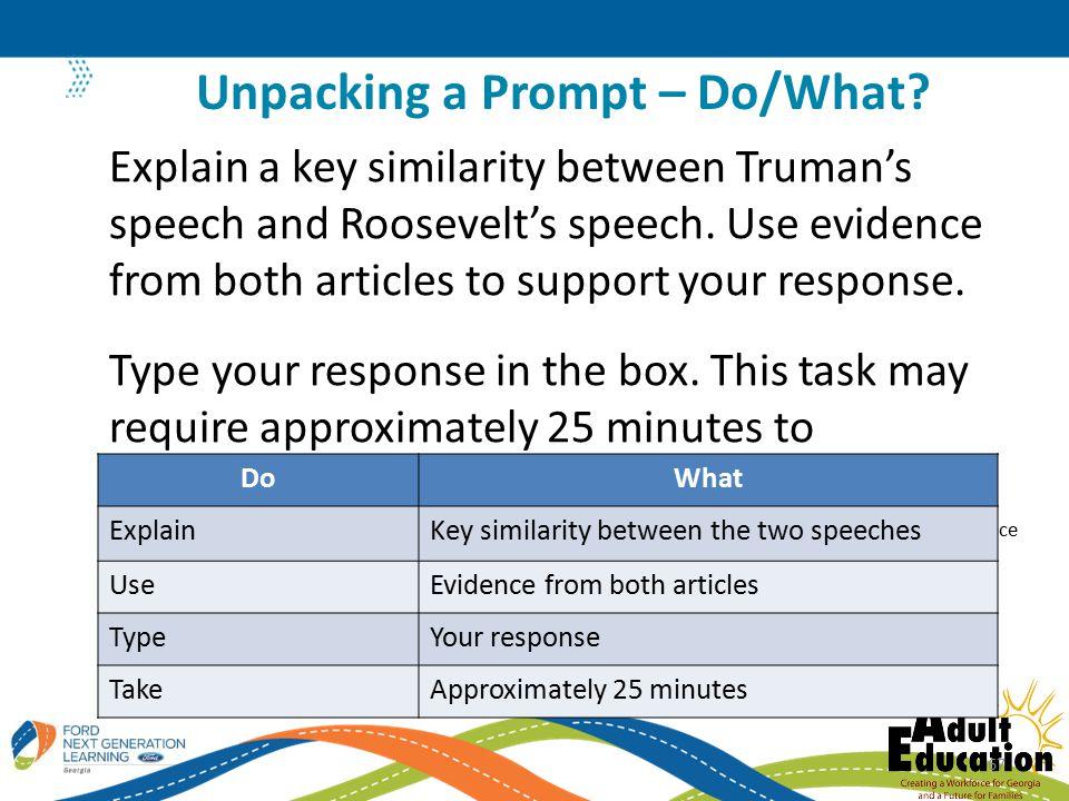Explain a key similarity between Truman's speech and Roosevelt's speech.