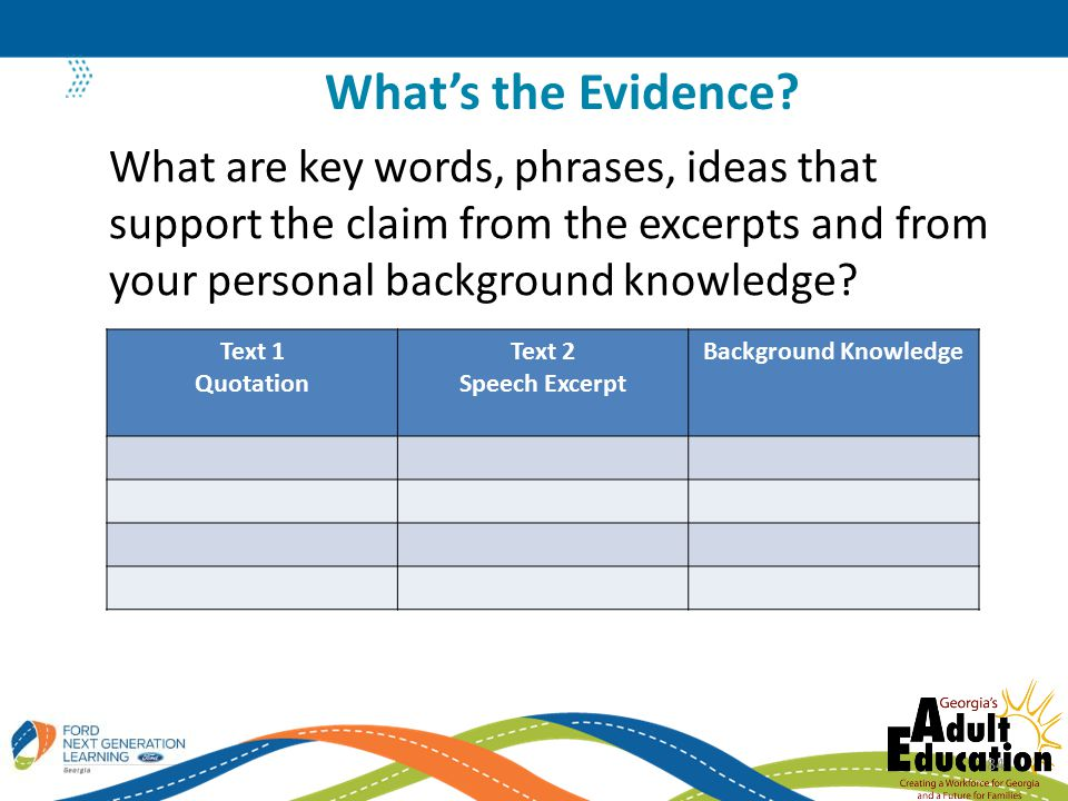 What are key words, phrases, ideas that support the claim from the excerpts and from your personal background knowledge.