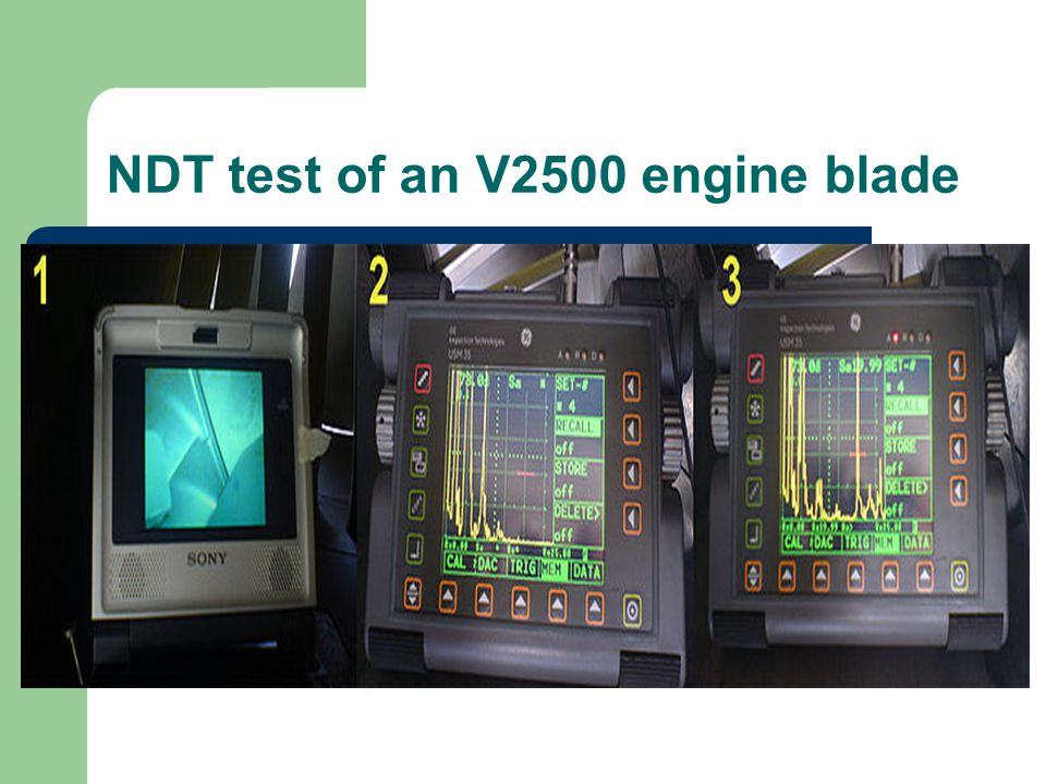 NDT test of an V2500 engine blade