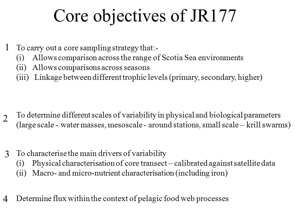 Core objectives of JR177 To carry out a core sampling strategy that:- (i)Allows comparison across the range of Scotia Sea environments (ii)Allows comparisons across seasons (iii) Linkage between different trophic levels (primary, secondary, higher) 1 To determine different scales of variability in physical and biological parameters (large scale - water masses, mesoscale - around stations, small scale – krill swarms) 2 To characterise the main drivers of variability (i)Physical characterisation of core transect – calibrated against satellite data (ii)Macro- and micro-nutrient characterisation (including iron) 3 Determine flux within the context of pelagic food web processes 4