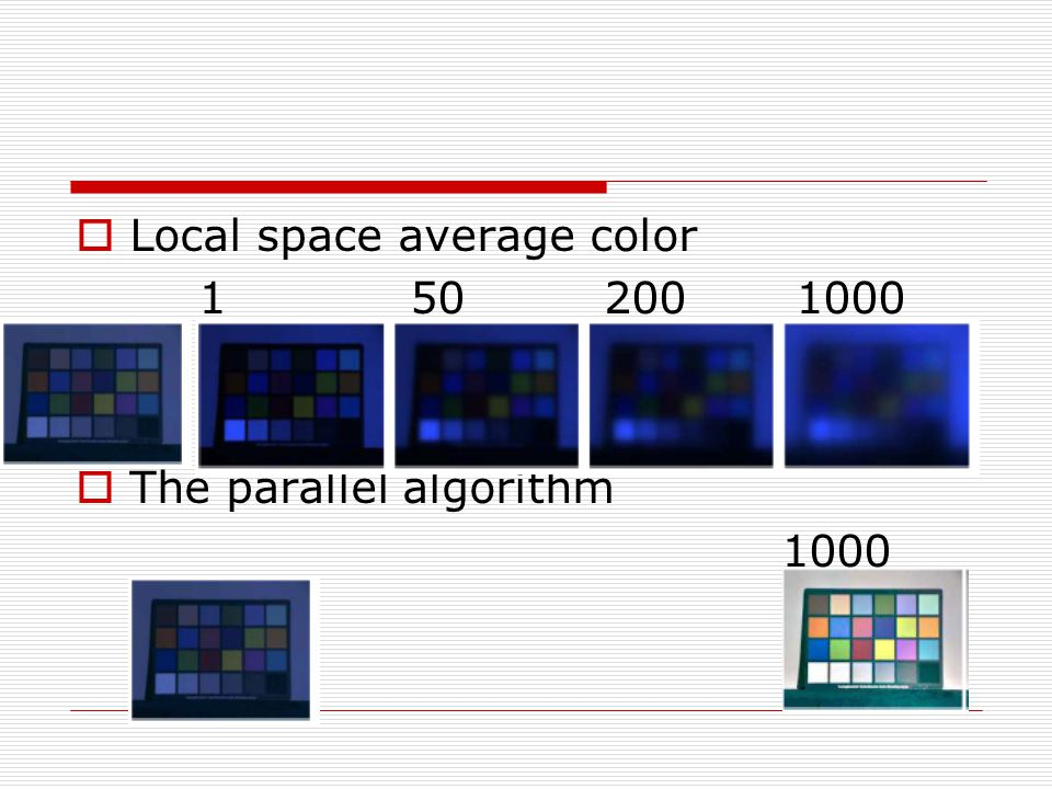  Local space average color 1 50 200 1000  The parallel algorithm 1000