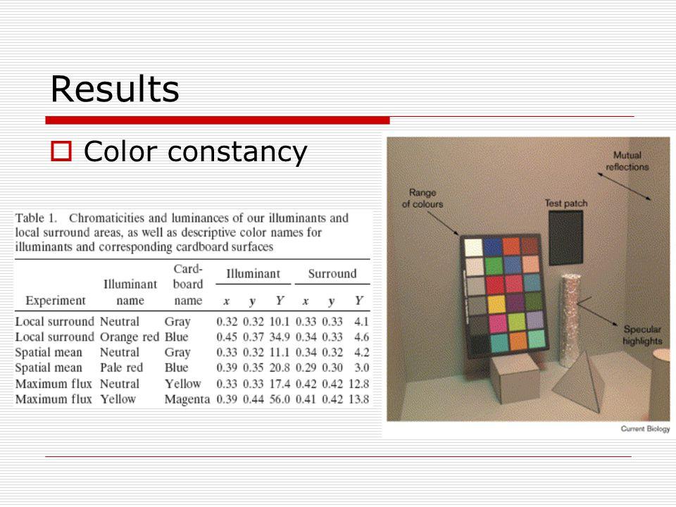 Results  Color constancy
