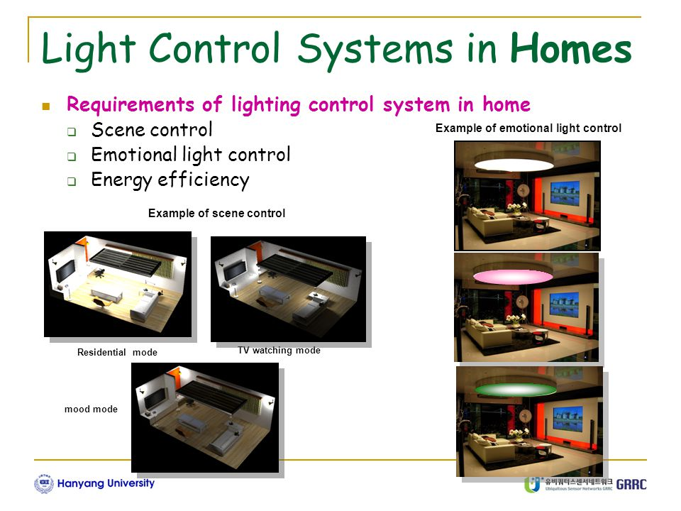 Light Control Systems in Homes Requirements of lighting control system in home  Scene control  Emotional light control  Energy efficiency Example of scene control Residential mode mood mode TV watching mode Example of emotional light control
