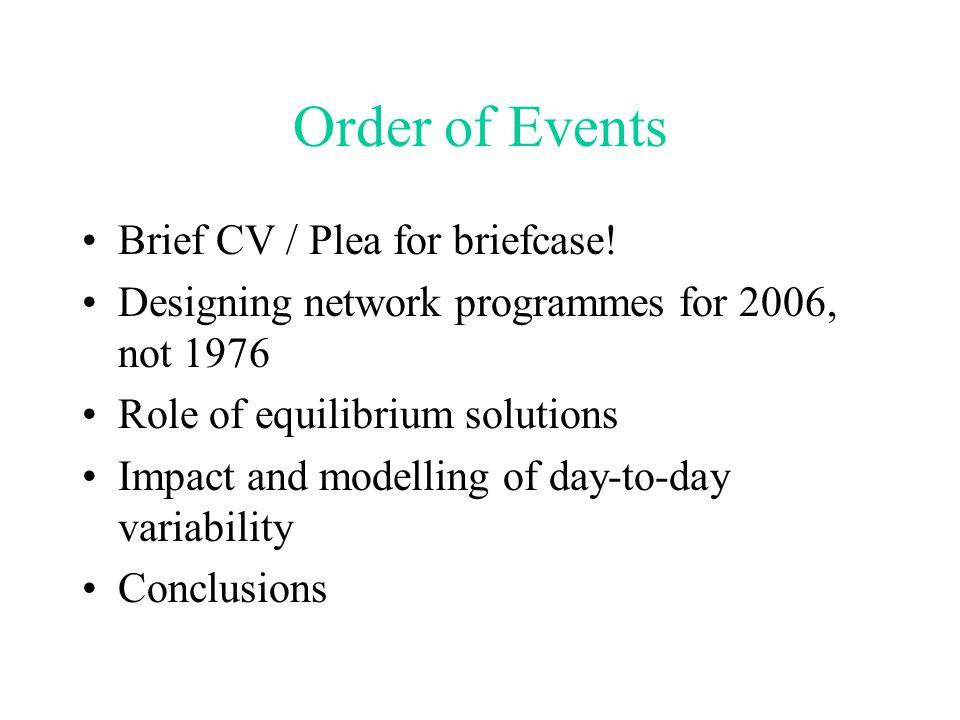 Order of Events Brief CV / Plea for briefcase.