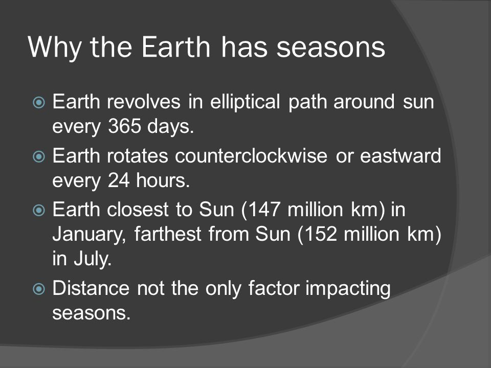 As the earth revolves about the sun, it is tilted on its axis by an angle of 231⁄2 o.