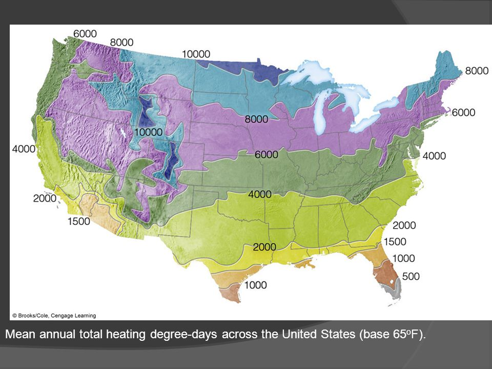Mean annual total heating degree-days across the United States (base 65 o F).