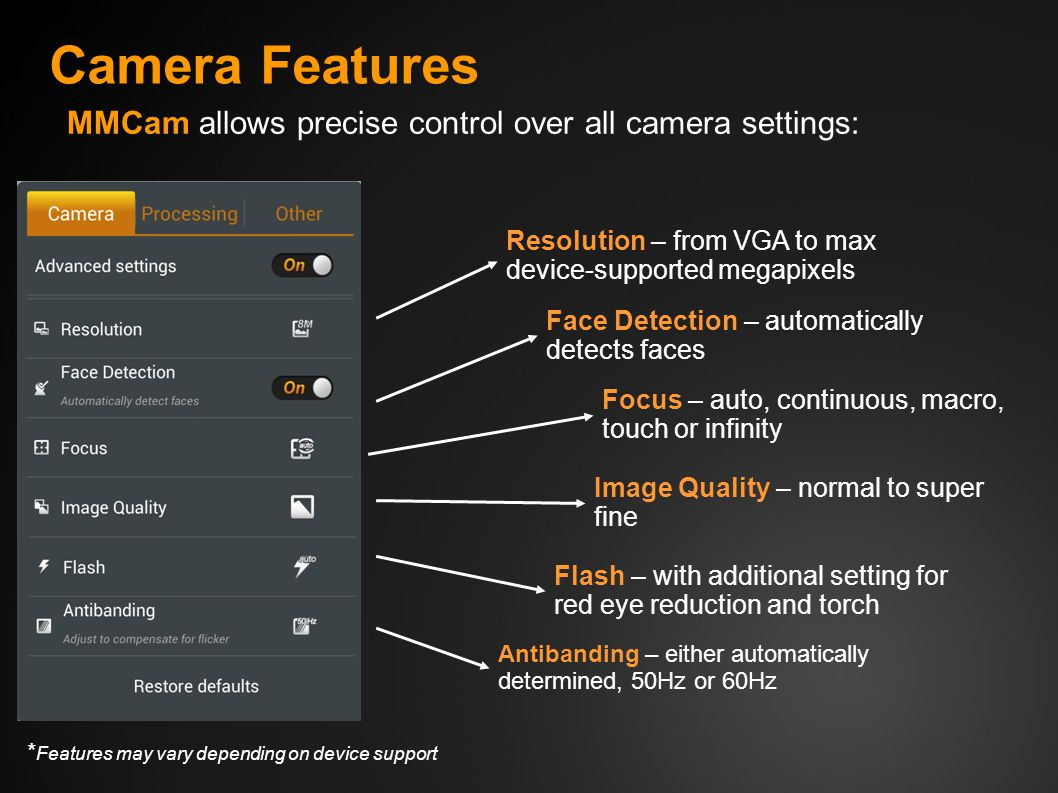Camera Features MMCam allows precise control over all camera settings: Resolution – from VGA to max device-supported megapixels Focus – auto, continuous, macro, touch or infinity Image Quality – normal to super fine Flash – with additional setting for red eye reduction and torch Antibanding – either automatically determined, 50Hz or 60Hz * Features may vary depending on device support Face Detection – automatically detects faces