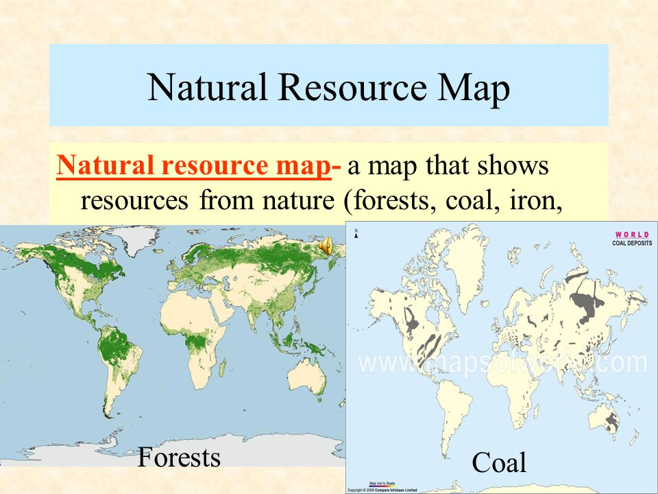 Product Map Product maps- show resources, such as coal, are found where crops, such as cotton, are grown. Questions p. M16