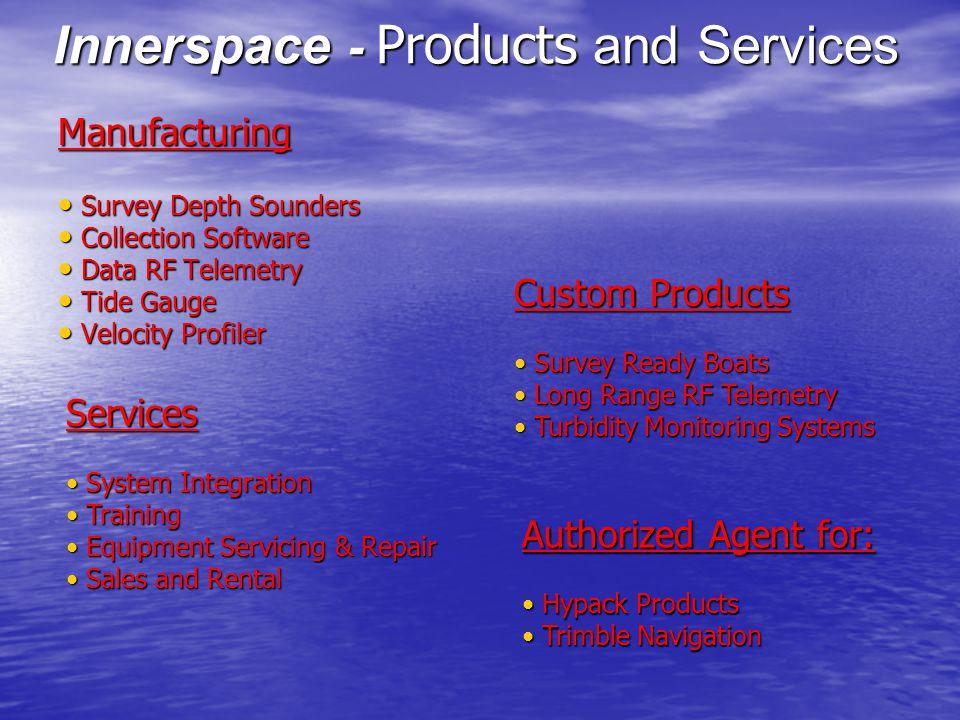 Manufacturing Survey Depth Sounders Survey Depth Sounders Collection Software Collection Software Data RF Telemetry Data RF Telemetry Tide Gauge Tide