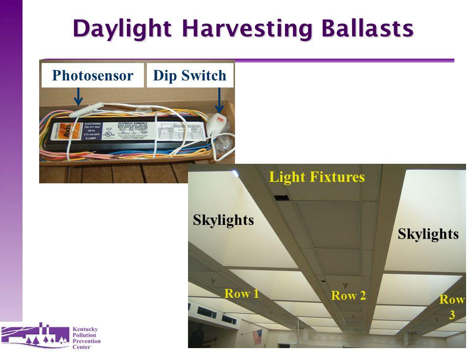 19 Daylight Harvesting Ballasts PhotosensorDip Switch Light Fixtures Skylights Row 1 Row 2 Row 3