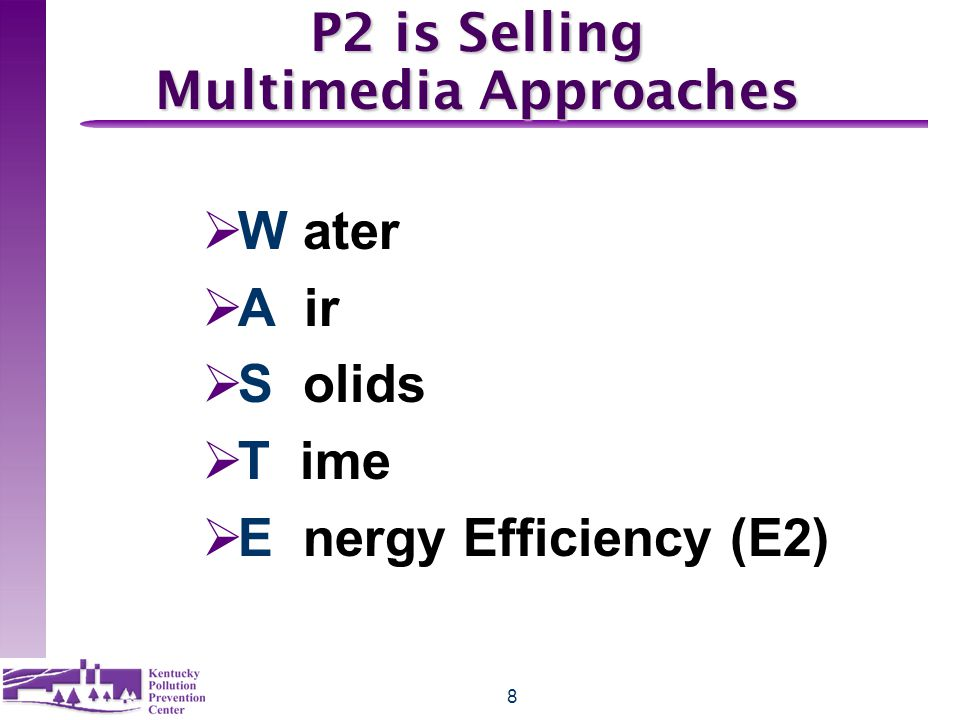 8 P2 is Selling Multimedia Approaches  W ater  A ir  S olids  T ime  E nergy Efficiency (E2)