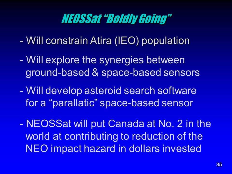 "35 NEOSSat ""Boldly Going"" - Will constrain Atira (IEO) population - Will explore the synergies between ground-based & space-based sensors - Will devel"