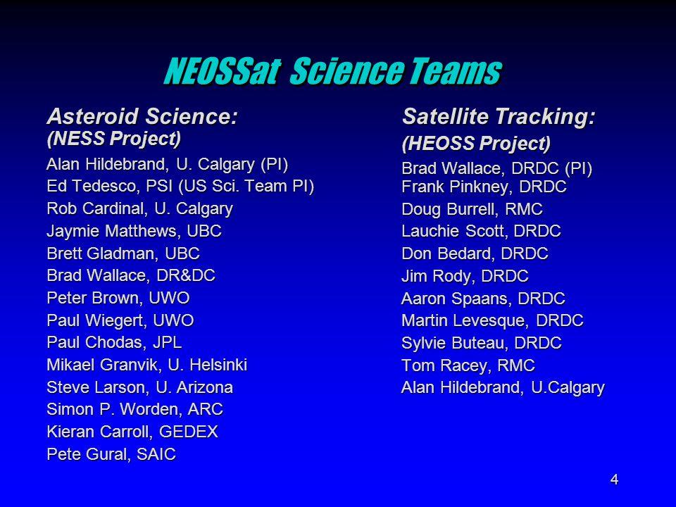4 NEOSSat Science Teams Asteroid Science: (NESS Project) Alan Hildebrand, U.