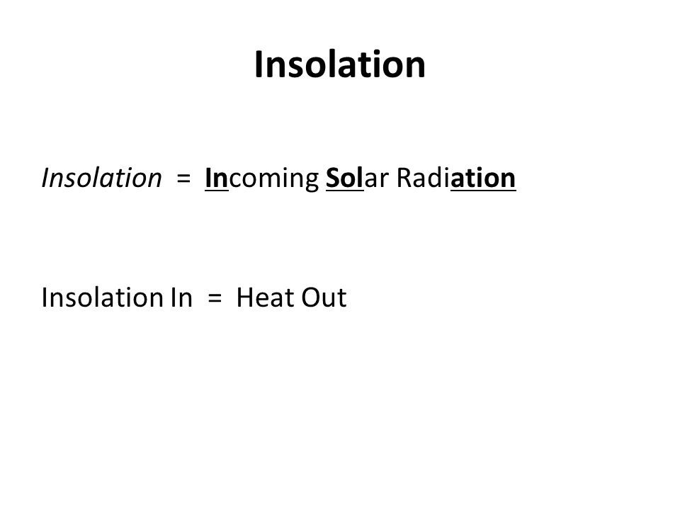 Insolation Insolation = Incoming Solar Radiation Insolation In = Heat Out