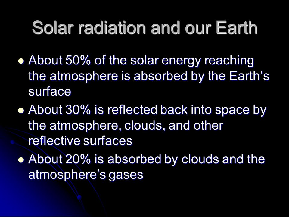 Solar radiation and our Earth About 50% of the solar energy reaching the atmosphere is absorbed by the Earth's surface About 50% of the solar energy reaching the atmosphere is absorbed by the Earth's surface About 30% is reflected back into space by the atmosphere, clouds, and other reflective surfaces About 30% is reflected back into space by the atmosphere, clouds, and other reflective surfaces About 20% is absorbed by clouds and the atmosphere's gases About 20% is absorbed by clouds and the atmosphere's gases