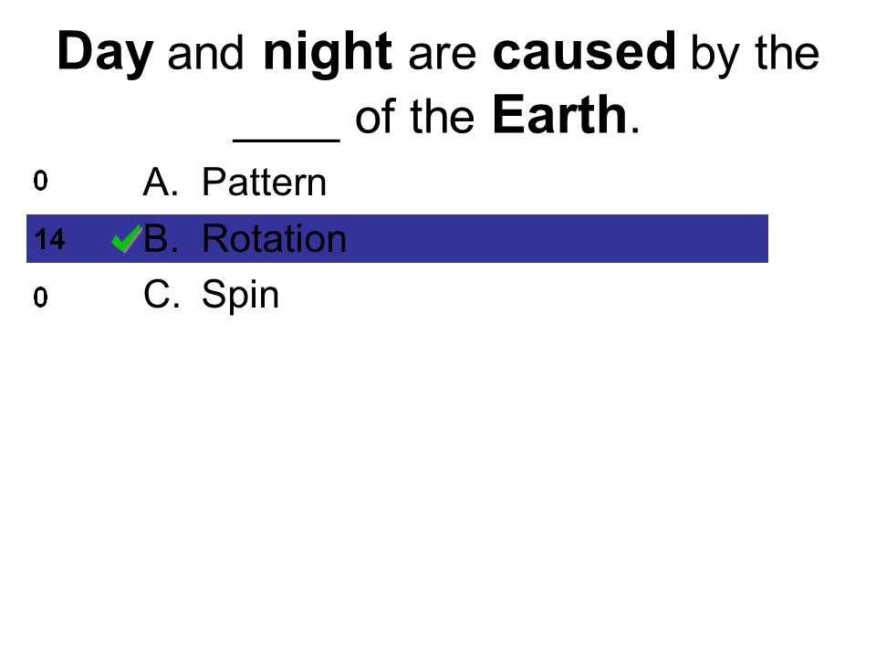 Day and night are caused by the ____ of the Earth. A.Pattern B.Rotation C.Spin