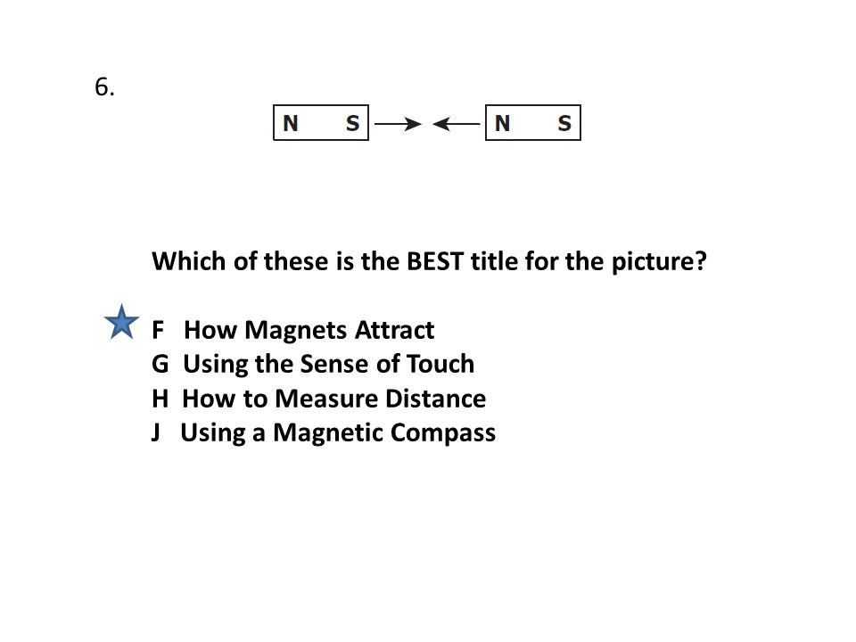 Which of these is the BEST title for the picture? F How Magnets Attract G Using the Sense of Touch H How to Measure Distance J Using a Magnetic Compas