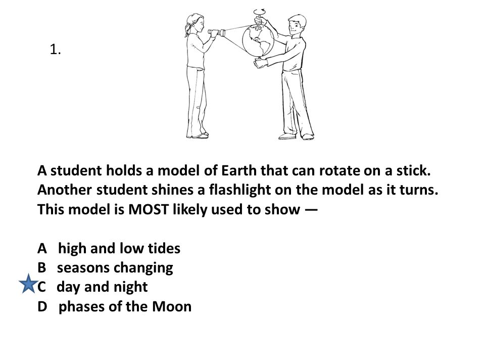 A student holds a model of Earth that can rotate on a stick. Another student shines a flashlight on the model as it turns. This model is MOST likely u