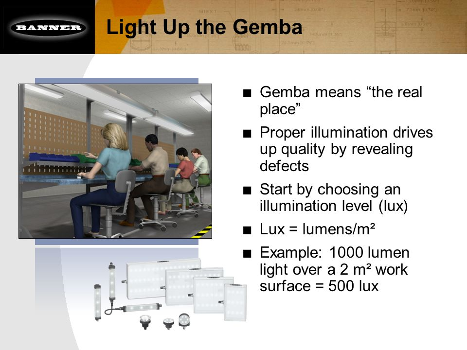 Light Up the Gemba ■ Gemba means the real place ■ Proper illumination drives up quality by revealing defects ■ Start by choosing an illumination level (lux) ■ Lux = lumens/m² ■ Example: 1000 lumen light over a 2 m² work surface = 500 lux