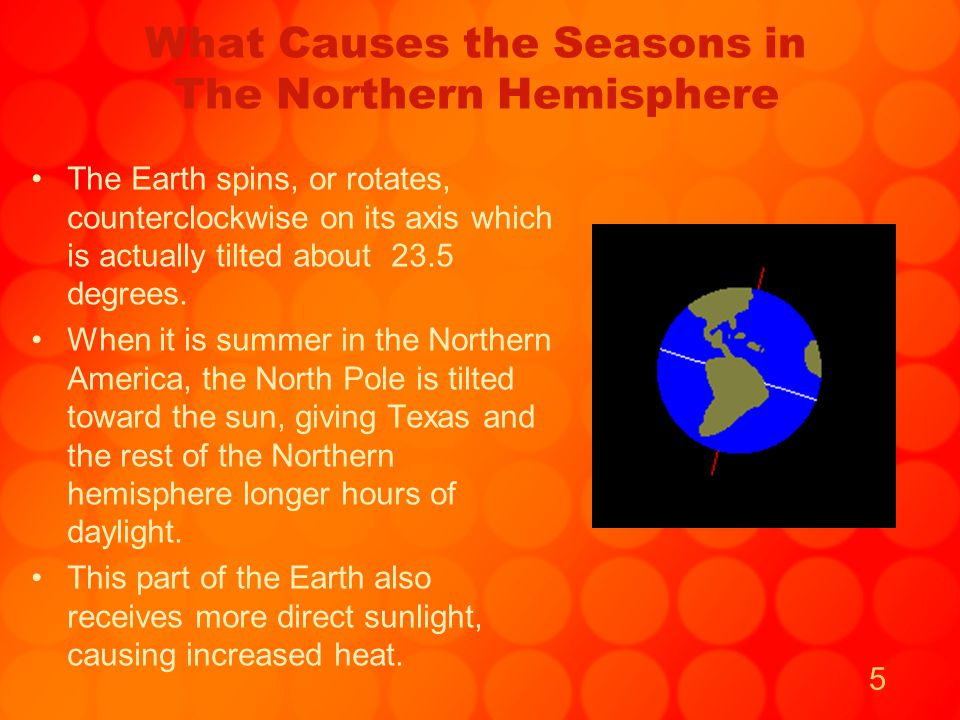 6 What Causes the Seasons In the Southern Hemisphere When the South Pole is tilted toward the sun, the Southern hemisphere has longer hours of daylight and experiences summer.