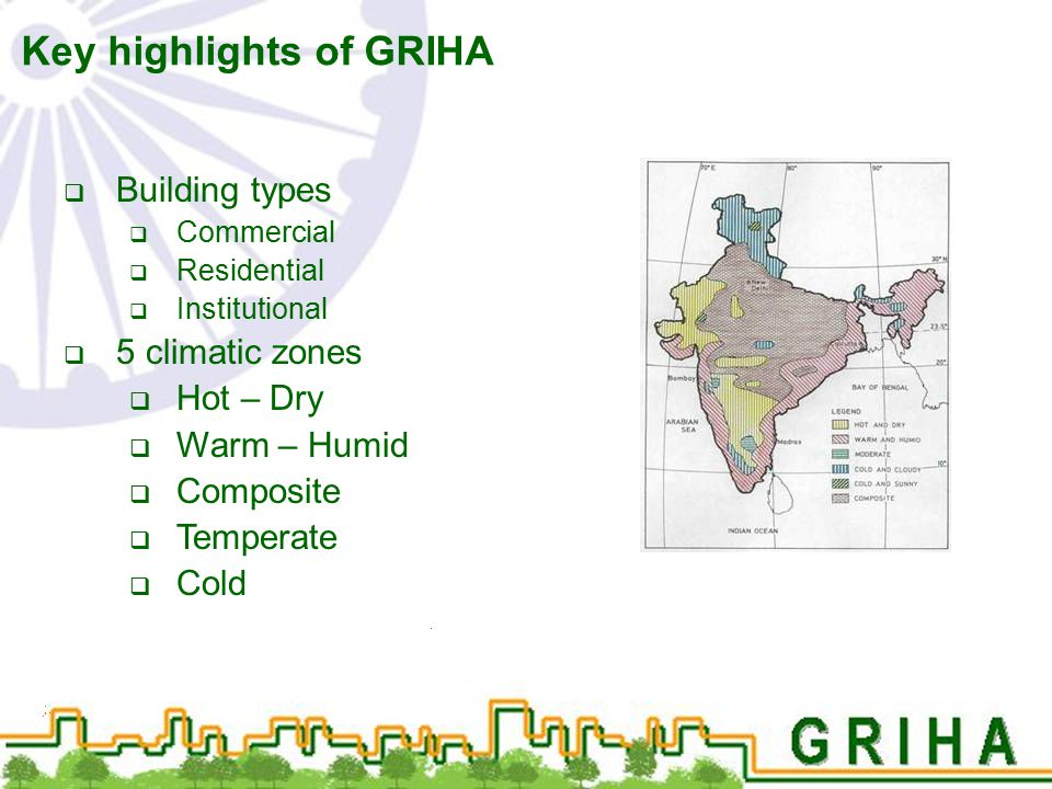  Building types  Commercial  Residential  Institutional  5 climatic zones  Hot – Dry  Warm – Humid  Composite  Temperate  Cold Key highlight
