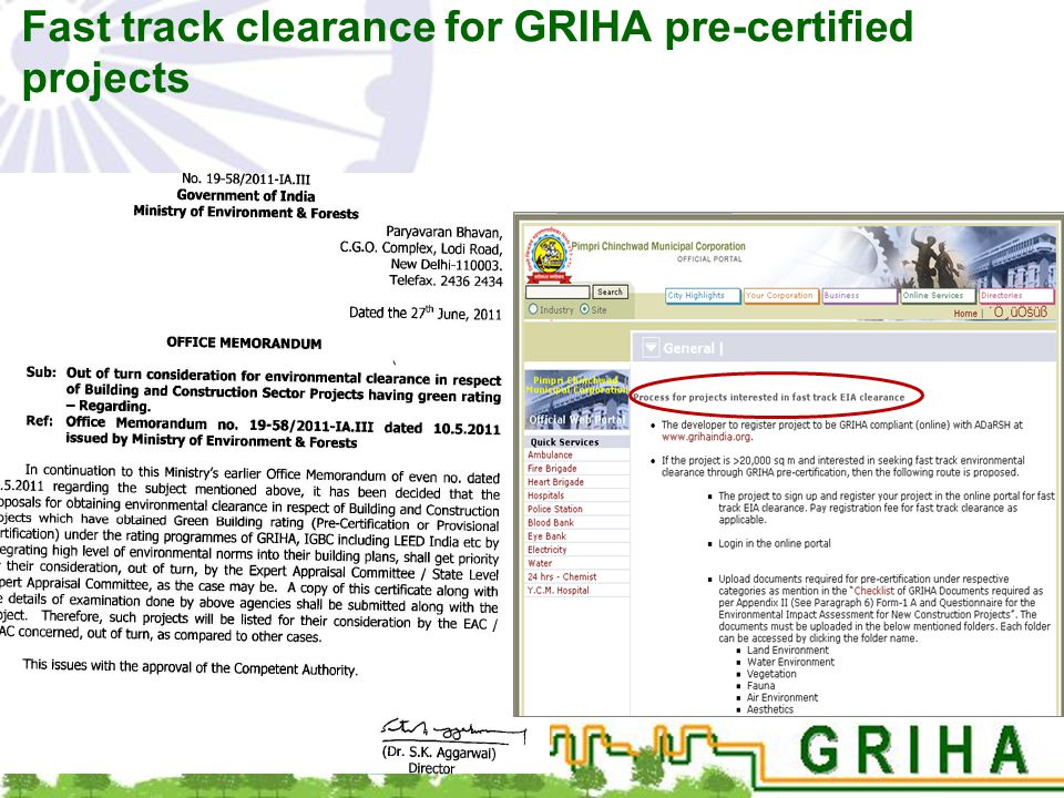 Fast track clearance for GRIHA pre-certified projects