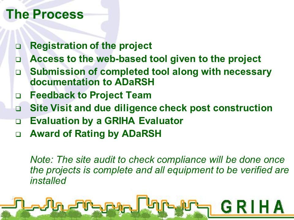 The Process  Registration of the project  Access to the web-based tool given to the project  Submission of completed tool along with necessary docu