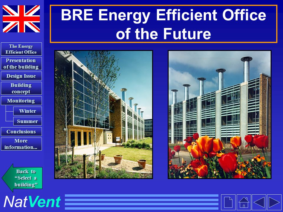 NatVent BRE Energy Efficient Office of the Future Presentation of the building Presentation of the building Building concept Building concept Conclusi
