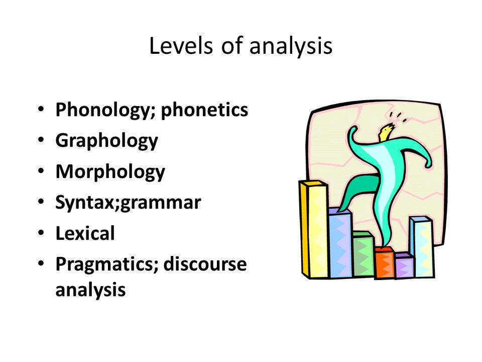 Levels of analysis Phonology; phonetics Graphology Morphology Syntax;grammar Lexical Pragmatics; discourse analysis