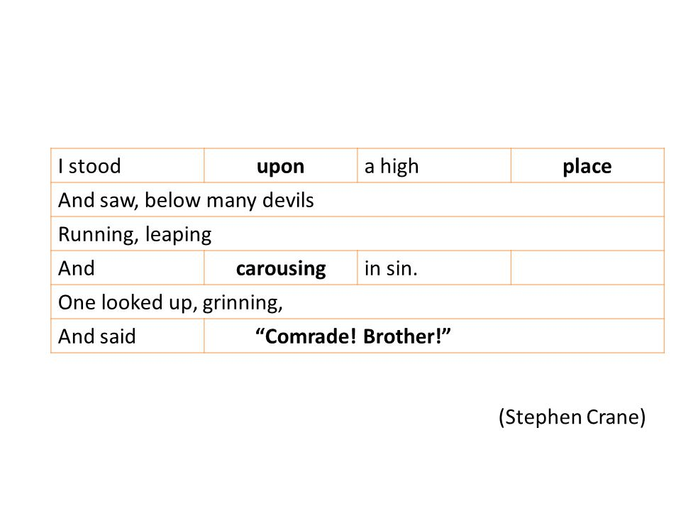 (Stephen Crane) I stoodupona highplace And saw, below many devils Running, leaping Andcarousingin sin.
