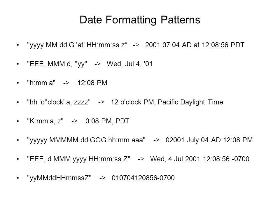 Date Formatting Patterns