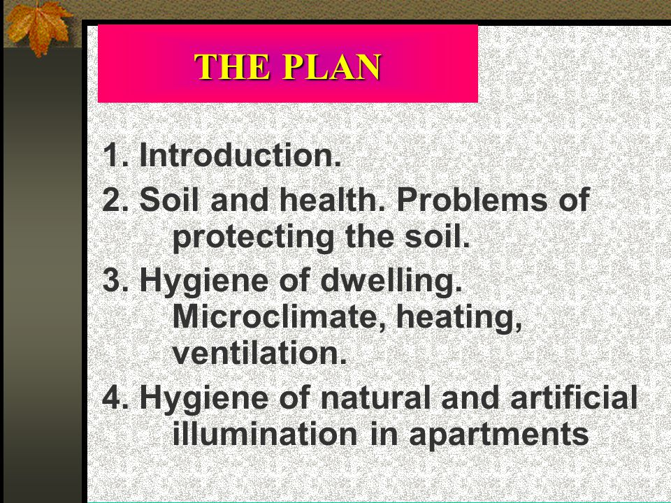 THE PLAN 1. Introduction. 2. Soil and health. Problems of protecting the soil.