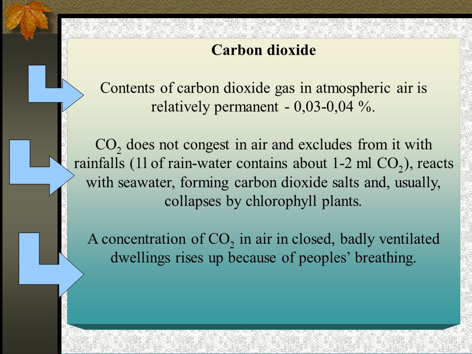 Carbon dioxide Contents of carbon dioxide gas in atmospheric air is relatively permanent - 0,03-0,04 %.