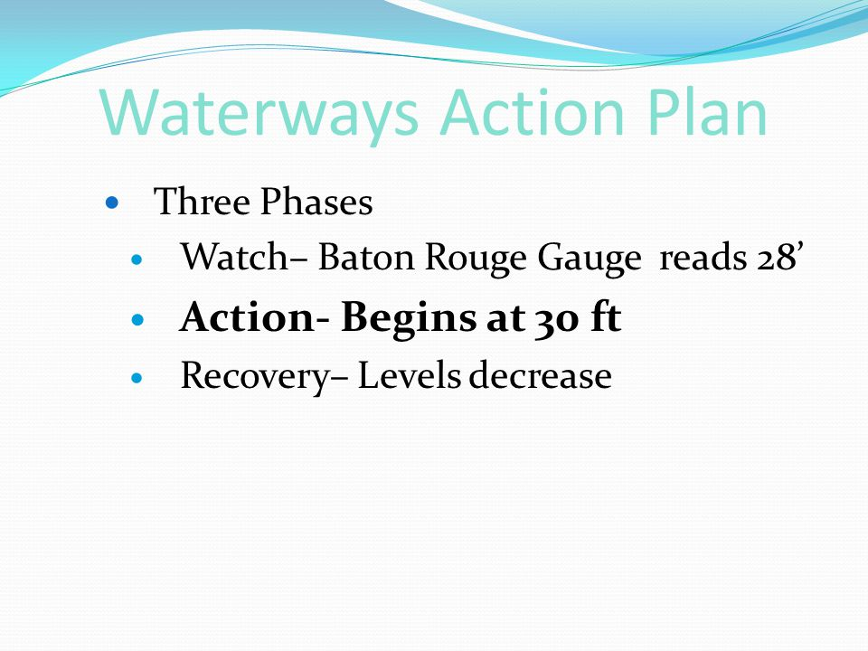 Waterways Action Plan Three Phases Watch– Baton Rouge Gauge reads 28' Action- Begins at 30 ft Recovery– Levels decrease