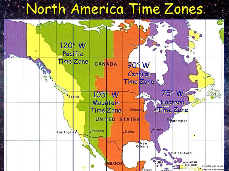 North America Time Zones Eastern Time Zone 75° W Mountain Time Zone 105° W Central Time Zone 90° W Pacific Time Zone 120° W