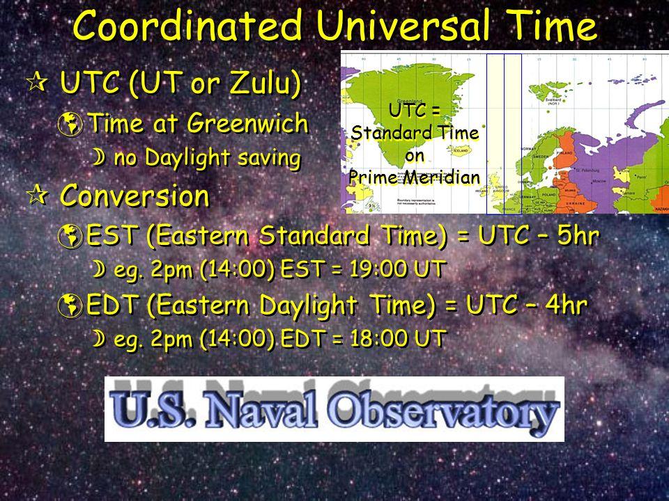 Coordinated Universal Time  UTC (UT or Zulu)  Time at Greenwich  no Daylight saving  Conversion  EST (Eastern Standard Time) = UTC – 5hr  eg. 2p