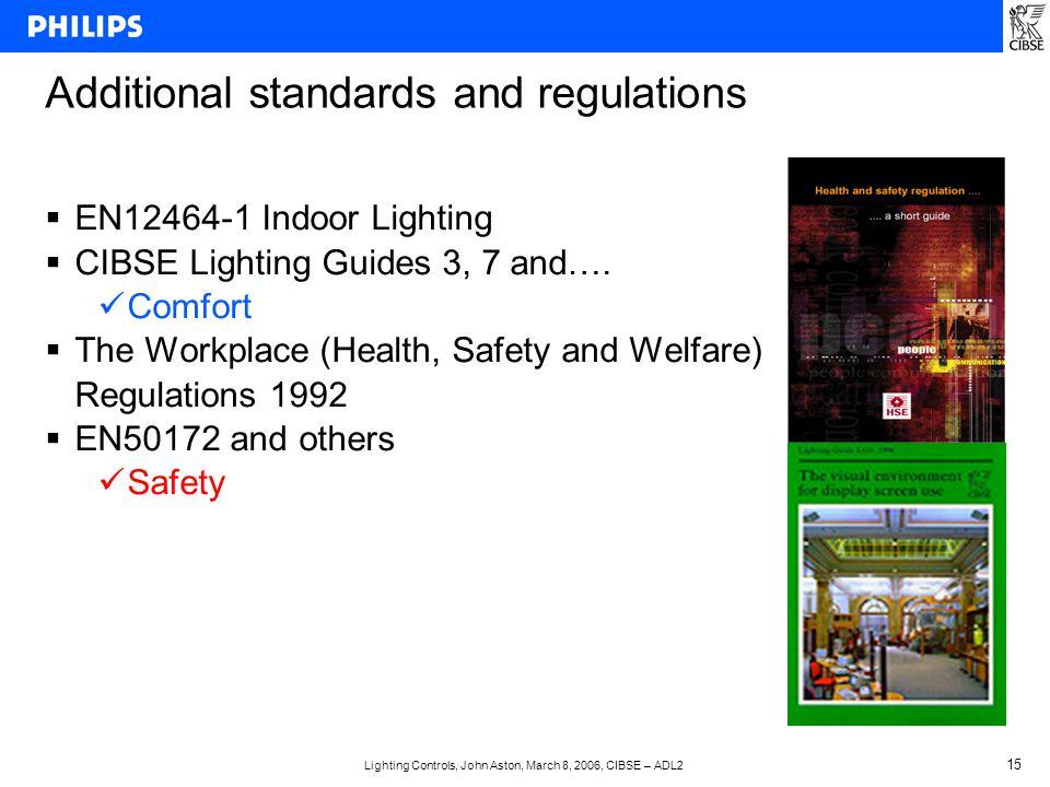 Lighting Controls, John Aston, March 8, 2006, CIBSE – ADL2 15 Additional standards and regulations  EN12464-1 Indoor Lighting  CIBSE Lighting Guides 3, 7 and….